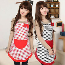 EP_ Women BowKnot Dot Aprons Kitchen Restaurant Cafe Bib Cooking With Pocket Nat