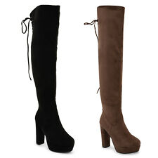 WOMENS LADIES THIGH HIGH BOOTS OVER THE KNEE PARTY WEDGE BLOCK MID HEEL SIZE