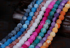 6-12mm Charm Dream Fire Dragon Veins Agate Round Loose Bead DIY Jewelry Making
