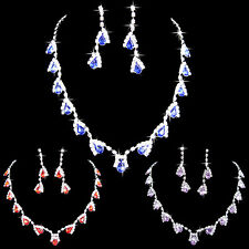 BL_ Women Dazzling Cubic Zirconia Necklace Crystal Pendant Earrings Bridal Popul