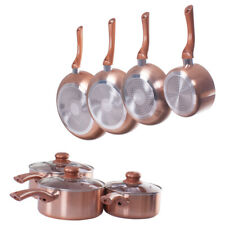 High Quality Copper / Pewter Saucepans With Lids - Non Stick Frying Pan Sets