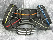 New 20mm Balistic Nylon Diver Strap 3 Rings PVD Watch Band Military Stripe