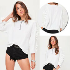 Casual Loose Tops New Ladies T-Shirt Frill 3/4 Sleeve Fashion Blouse Womens