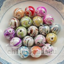 16MM 20Pcs Iridescent Zebra Striped Acrylic Round Smooth Beads Loose Beads Charm