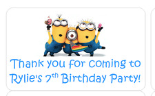 PERSONALISED STICKERS LABELS ADDRESS PARTY BAGS DESPICABLE ME MINIONS