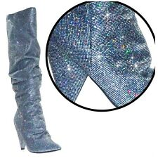 Cape Robbin JEAN-7 Pewter Glitter Lame Knee High Point Toe Slouch Cone Heel Boot