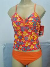 NWT$44 Speedo Girls 2 pc Youth Heart Graphics Swim Suit Orange Blue Pink 7142329