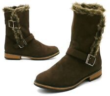 Ladies Womens New Mid Block Heel Chelsea Ankle Biker Winter Fur Boots Shoes Size