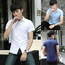 Men Slim Fit Short Sleeve Cotton Shirts Casual Button BusinessFormal Shirt New