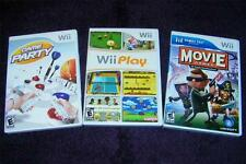 NINTENDO Wii lot 3 games Wii Play Game Party Movie Games free ship