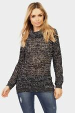 Ladies / Womens Black/White Roll Neck Cable Knit Jumper Clothing LOTD