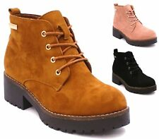 Ladies Womens Ankle Boots Lace Up Military Combat Worker Celeb Walking Shoes Siz