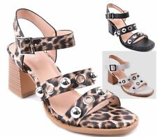 Ladies Womens Studded Faux Leather Strappy Sandals Block Heel Peep Toe New Shoes