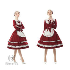 Women Classic Maid Lolita Dress Red Cupcake Party Fancy Dress Cosplay Costume