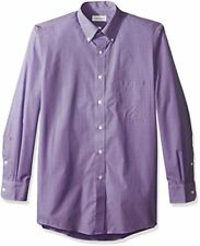Van Heusen Men's Regular Fit Gingham Button Down Collar Dress Shirt, Amethyst,