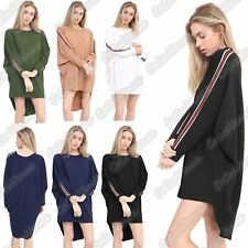 New Ladies Plain Stripe On Sleeve Oversized Baggy Batwing High Low Blouse Top