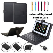 "US For 7"" 8"" 10"" 10.1"" inch Tablets Black Leather Case Micro USB Keyboard Cover"