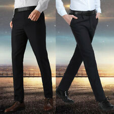 Mens Straight Leg Work Cargo Pants Slim Fit Formal Dress Trousers Business Pants