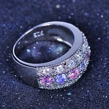 Classy Female Pink Purple Zircon Ring 925 Silver Filled Promise Engagement Rings