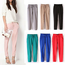 AS_ Women Casual Chffion Pants Solid Color Elastic Waist Full Length Trousers Fa