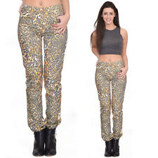 New Orange Leopard Animal Print Slim Skinny Fitted Stretch Jeans Pants Trousers