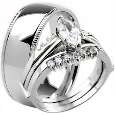 925 Sterling Silver Marquise Cut CZ Engagement Wedding Ring Set & Titanium Band