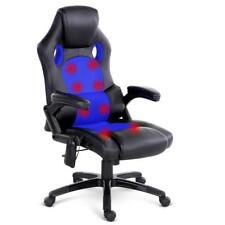 NEW 8 Point Massage Racer PU Leather Office Chair Black Blue