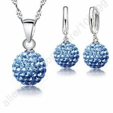 Gorgeous Jewelry Sets 925 Sterling Silver Austrian Crystal Pave Disco Ball Lever