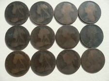 Lot of 12 Queen Victoria One Penny Coins of England - Bun and Veil Type pre 1902