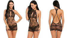 SEXY BLACK LACE BABYDOLL LINGERIE SET LACY SEE THROUGH CHEMISE DRESS S M L XL