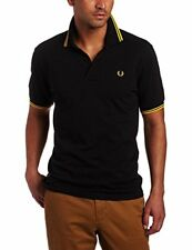 Fred Perry Men's Twin Tipped Polo Shirt-m1200, Black/New Yellow