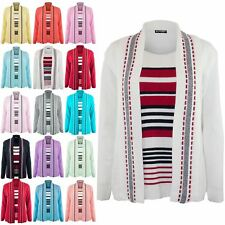 New Ladies Long Sleeve Open Front Womens Fine Knitted Striped Top Twin Cardigan