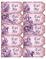 Alice in Wonderland 20 x Pink Gift Tag Food Label Party - Eat Me - Wedding Craft