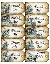 Alice in Wonderland 20 x Gift Tag Food Label Party - Drink Me - Wedding Craft