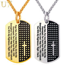 U7 Dog Tag Cross Necklaces & Pendant Gold Color Stainless Steel Chain Bible