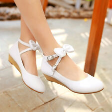 NEW Womens Flat Heels Shoes Wedge Cross Straps Bowknot Pumps AU Size YD6985