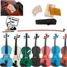 4/4 Violin Full Size Solid Natural Wood Fiddle Acoustic Bow Kit Package Case
