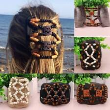 Easy Magic Wood Beads Double Hair Comb Clip Stretchy Women Hair Accessories
