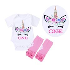 Infant Baby Girl First 1st Birthday Costume Unicorn Romper Bodysuit Party Outfit