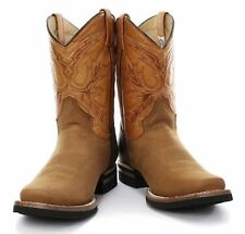 Grinders El Paso Tan Brown Cowboy Slip On Mid Calf Classic Real Leather Boots