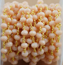 Peach Moonstone Faceted Wire Wrapped Beaded Necklace Link Chain Jewelry