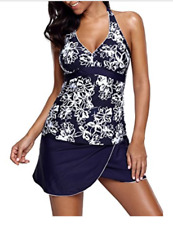 Womens Bandeau Floral Print Tankini Two Piece Swimsuit(Navy1)