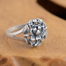 Thai silver ring S925 sterling silver antique style female flowers Gift Ring