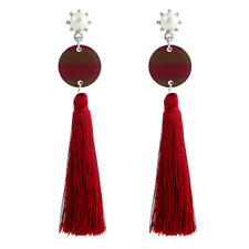 Pink Women Unique Creative Diamond Inlaid Circular Glitter Tassels Ear Stud