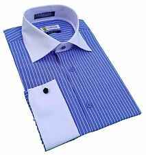 Mens Dress Shirt Labiyeur Slim Fit French Cuff Spread Collar Blue/White Striped