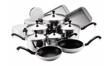 Farberware Stainless Steel Non Stick Cookware Set 17 Pc Aluminum Kitchen Pot Pan