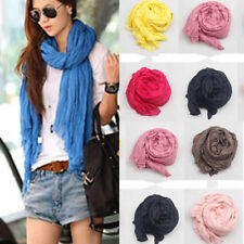 New Girls Womens Pure Candy Long Crinkle Soft Scarf Wrap Voile Wraps Stole Shawl