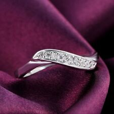 Silver Plated Ring US Size 7 8 Jewelry Wedding Rings Rhinestone Crystal Women