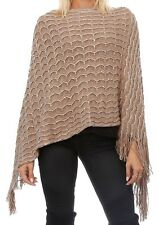 Highness Womens Long Knit Fringed Poncho Cape Textured Sequins One Size S to 3X