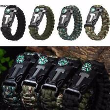 Outdoor Hiking Emergency Paracord Bracelets Fire Starter Compass Whistle MDZ3